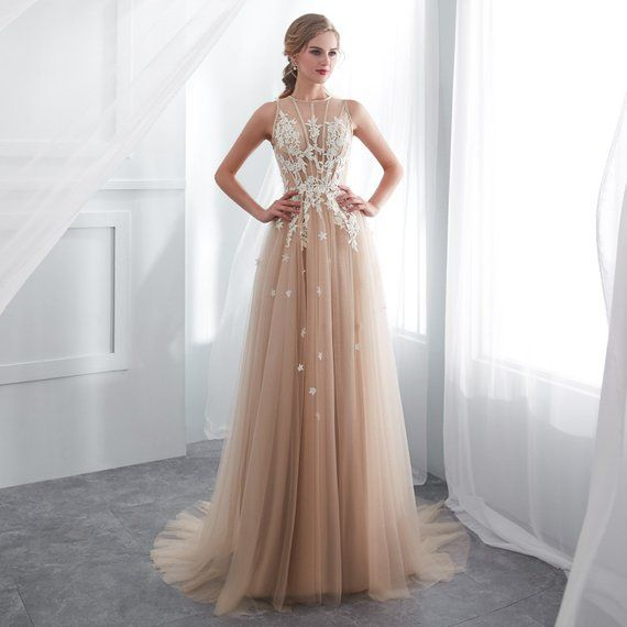Prom Dresses A-Line Wedding Dress Lace Evening Dresses Foral Tulle Dress  Women Formal Lace Party Gow 208d9cfea977