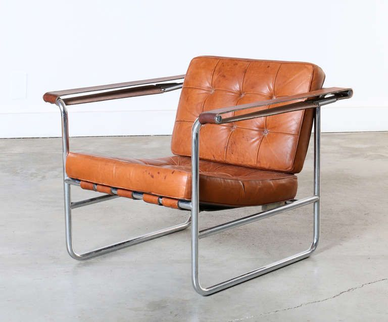 Pair of Leather and Chrome Lounge Chairs by Karl Thut for Stendig | From a unique collection of antique and modern lounge chairs at http://www.1stdibs.com/furniture/seating/lounge-chairs/