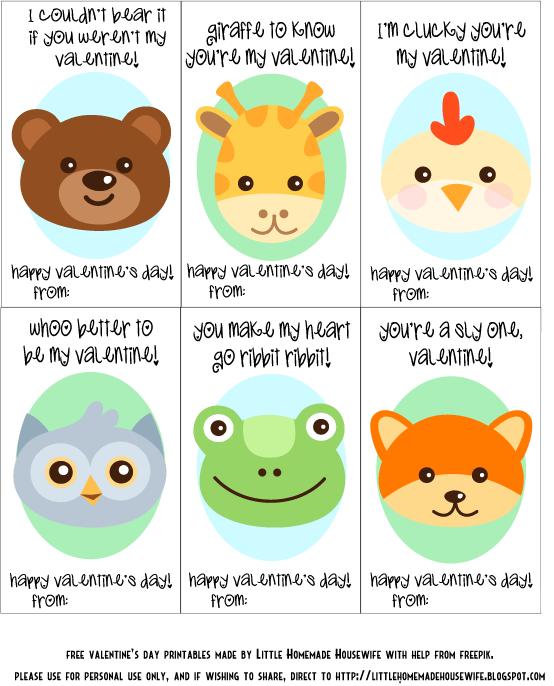 Animal Valentine Cards to Print – Animal Valentine Cards