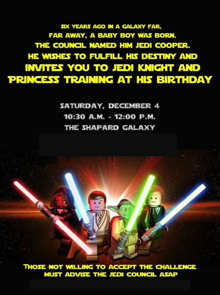 4 year old star wars party – Star Wars Party Invitation