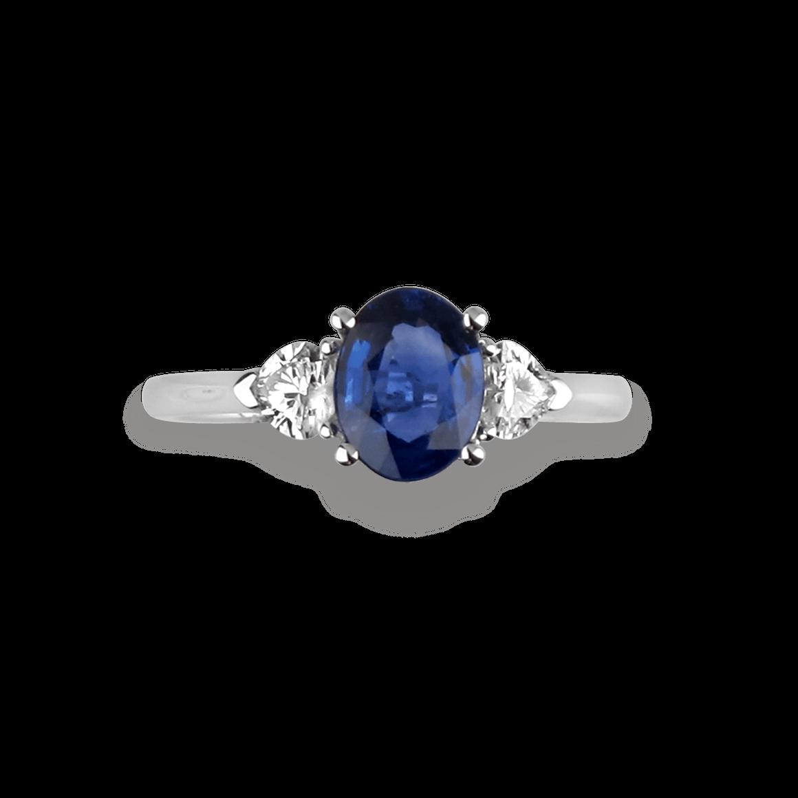 7x5mm naturel bleu zircon Bague blanc avec zircon en argent sterling 925