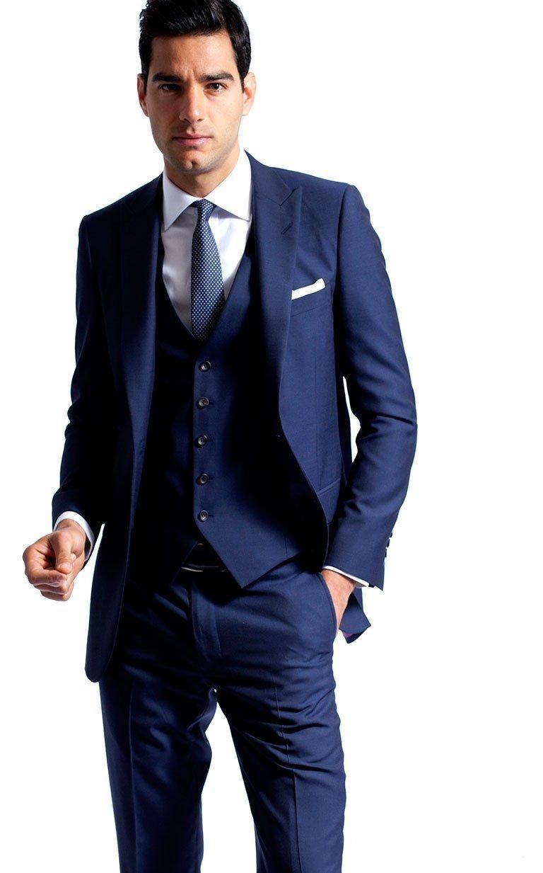 Side Vent Navy Blue Groom Tuxedos Peaked Lapel Slim Fit Best Men S Wedding Dress Prom Holiday Suit New Arrival Jacket Pants Tie Vest741 Suits Online