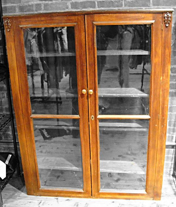vintage bookcase glass doors wood filigree leaves wooden bookcase bookcase cabinet display antique
