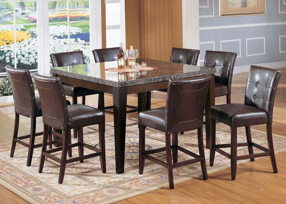 Acme 07059 Counter H Table Bk Marble Walnut 54x54 Counter Height Table Sets Dining Table Marble Counter Height Dining Table Set