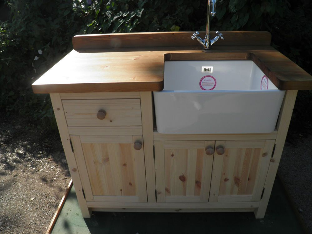 Handmade solid new wood 4ft belfast sink unit in home for Kitchen unit set