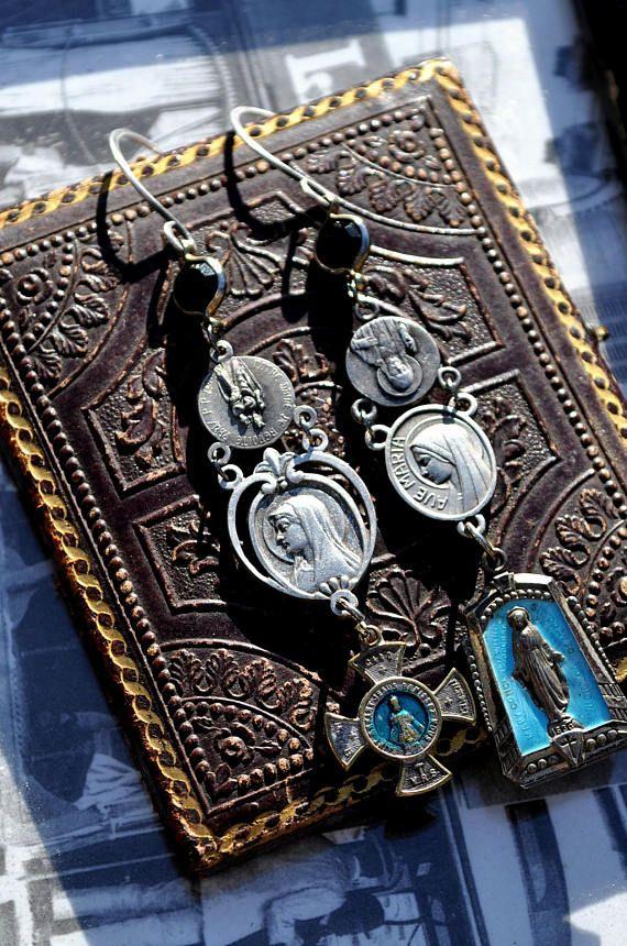 VINTAGE BLUE ENAMEL Religious Medal Earrings. Repurposed