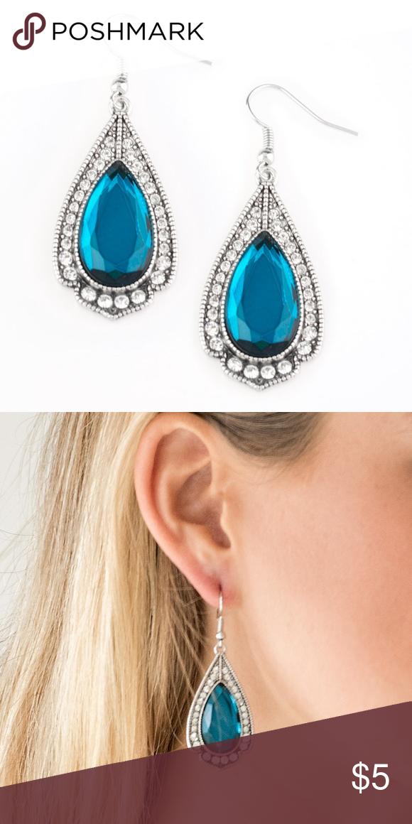954887024 Super Stardom Teardrop Rhinestone Earrings Featuring a regal teardrop cut,  a blue gem is pressed into a silver spade shape frame radiating with glassy  white ...