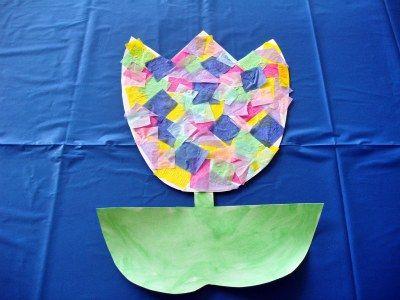 Tissue Paper Tulip Flower Craft for Kids