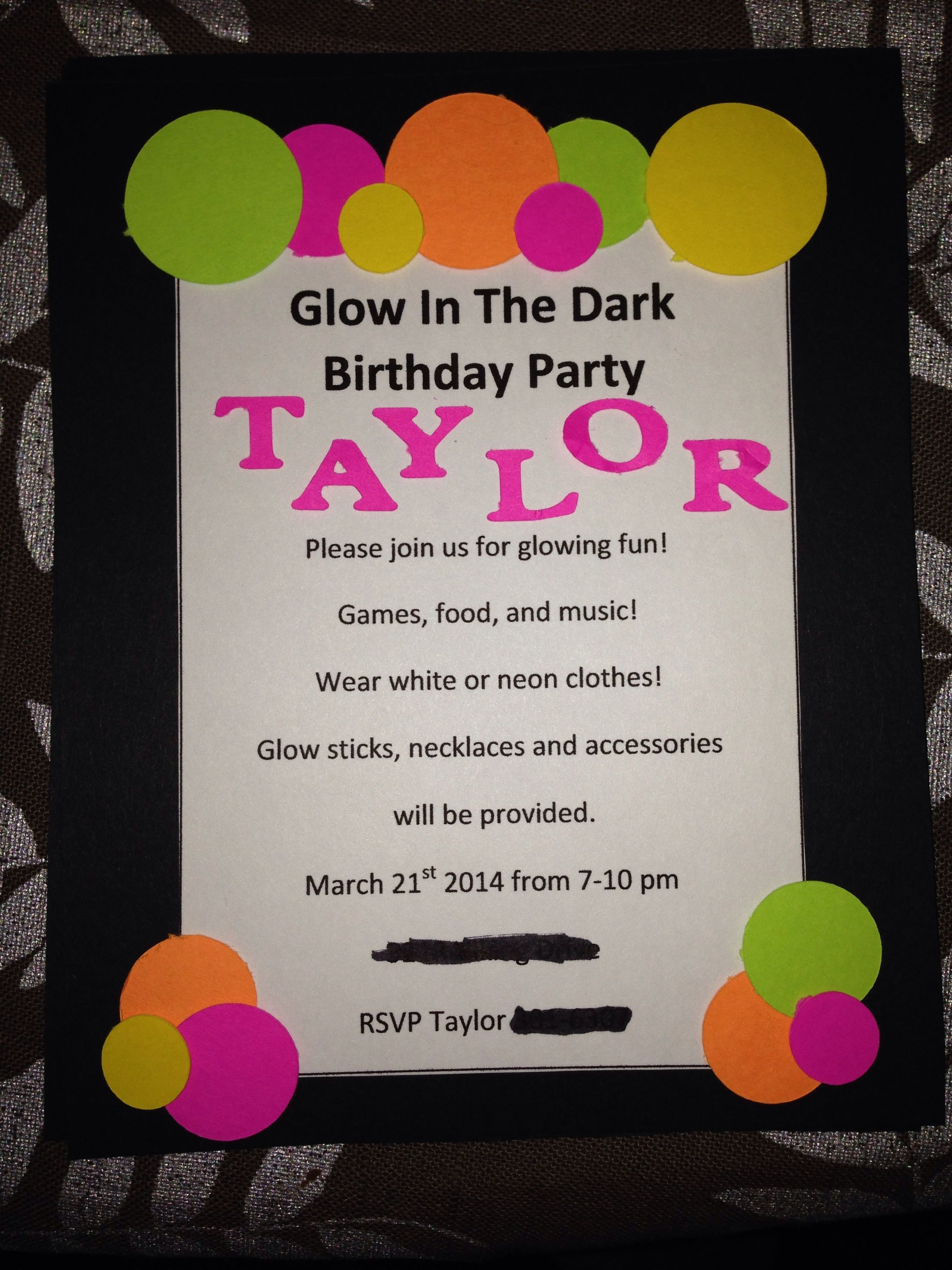 14th birthday invite glow in the dark party birthday ideas in