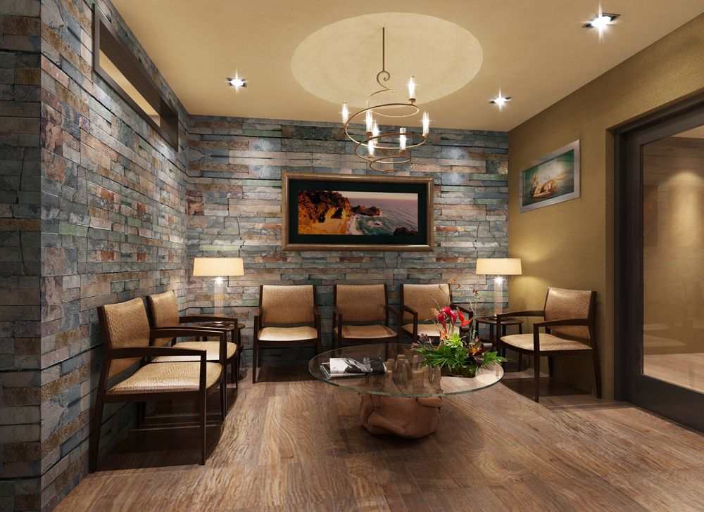 Love This Waiting Room With Stone Wall Finish Medical Office Decor Office Waiting Rooms Medical Office Interior