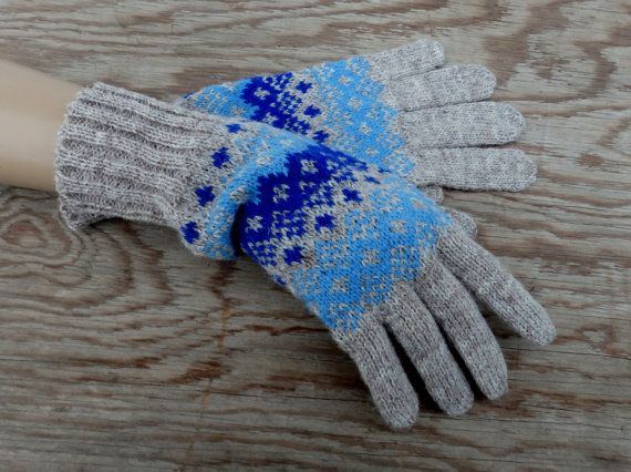 Hand knitted wool gloves with fingers, knit grey adult winter ...