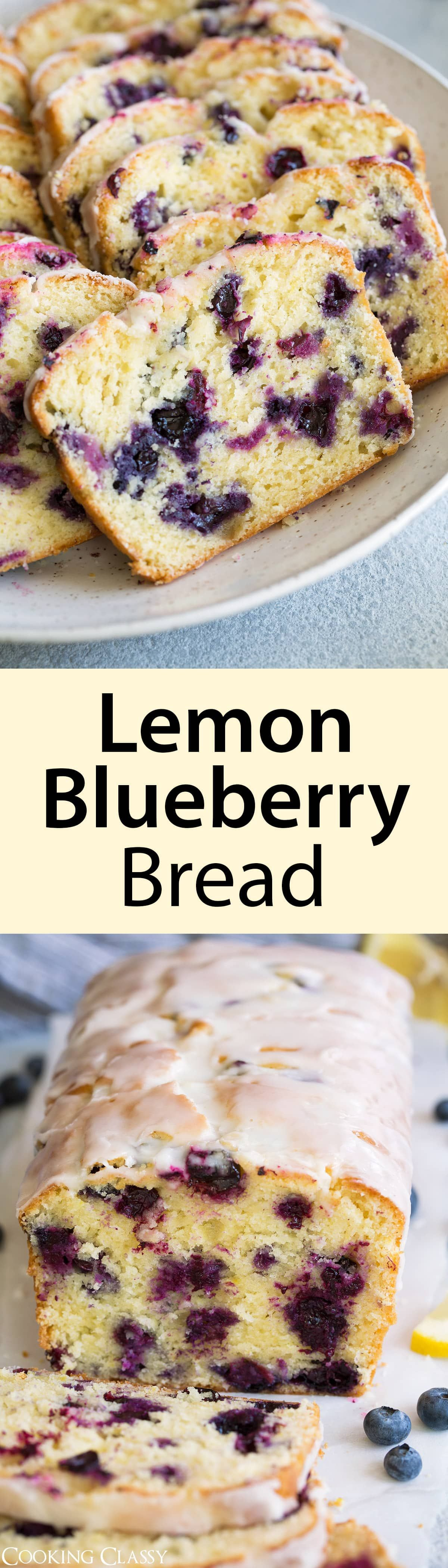 Lemon Blueberry Bread - this is the perfect summer treat! This recipe is easy to make and the end result is unbelievably satisfying. You get an amazingly moist loaf of bread that's brimming with bright, fresh lemon flavor and studded with sweet blueberries in every bite. Talk about delicious!