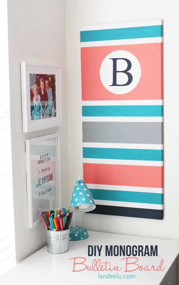 Diy Monogram Bulletin Board Diy Girls Bedroom Diy Monogram