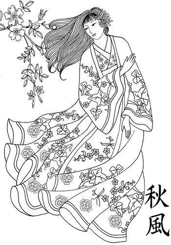 Galerie de coloriages gratuits coloriage-femme-japon-robe-tradition.