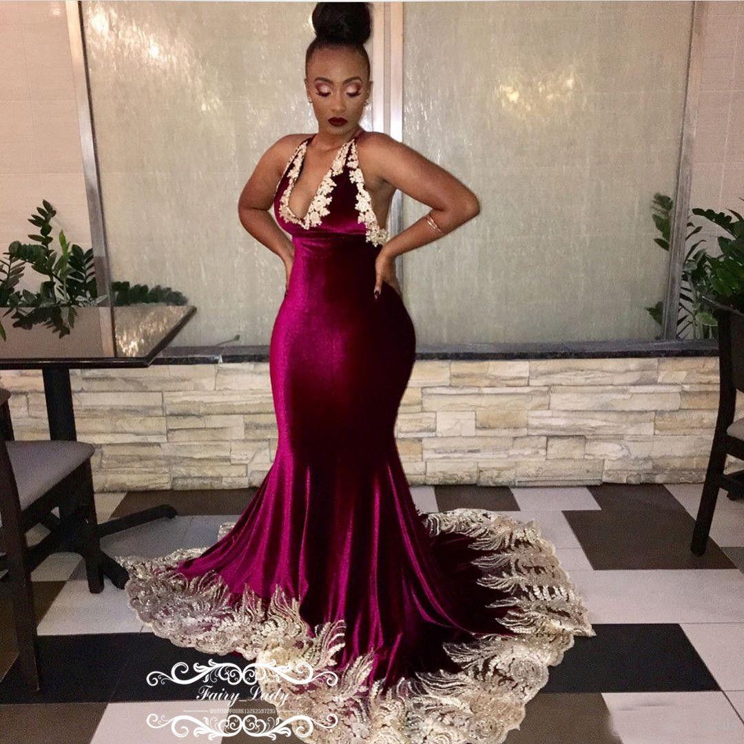 Chic 3D-Floral Appliques Burgundy Prom Dresses 2018 Backless Long ...