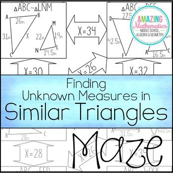Finding Unknown Measures In Similar Triangles Maze Similar Triangles Maze Worksheet Engaging Lessons Similar triangles worksheets with