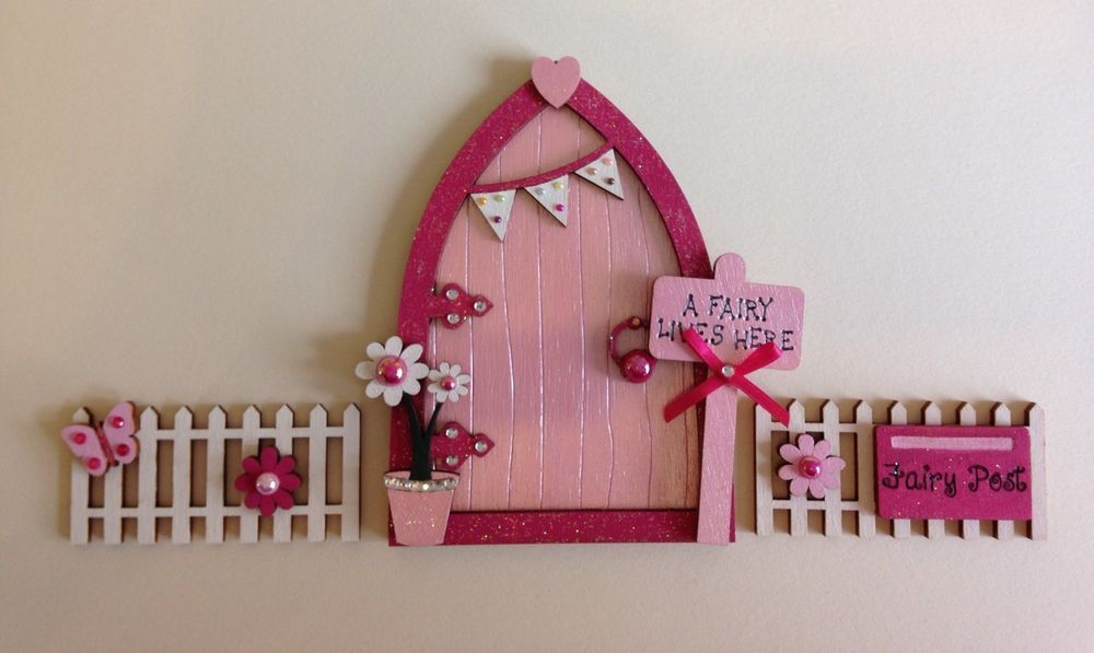 Magical Hand Painted Pink Blossom Fairy Door With Fencing    eBay