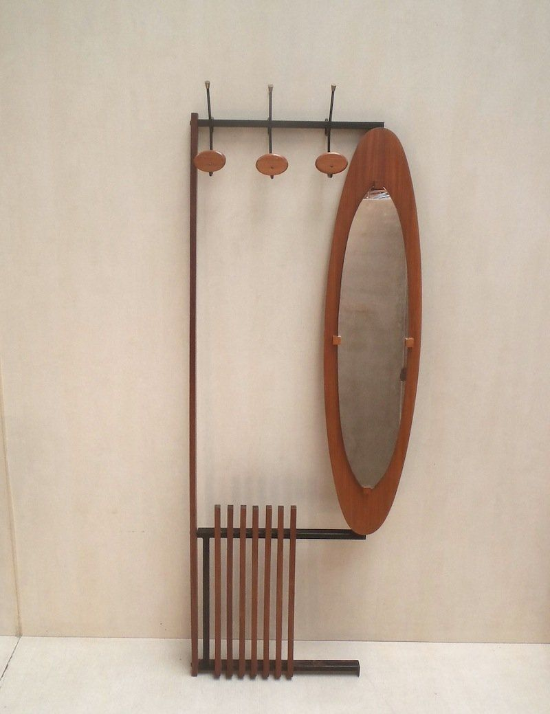 French Iron Mirrored Glass And Lacquer Coat Rack 1960s In 2020 Mirrored Glass Mirror Glass