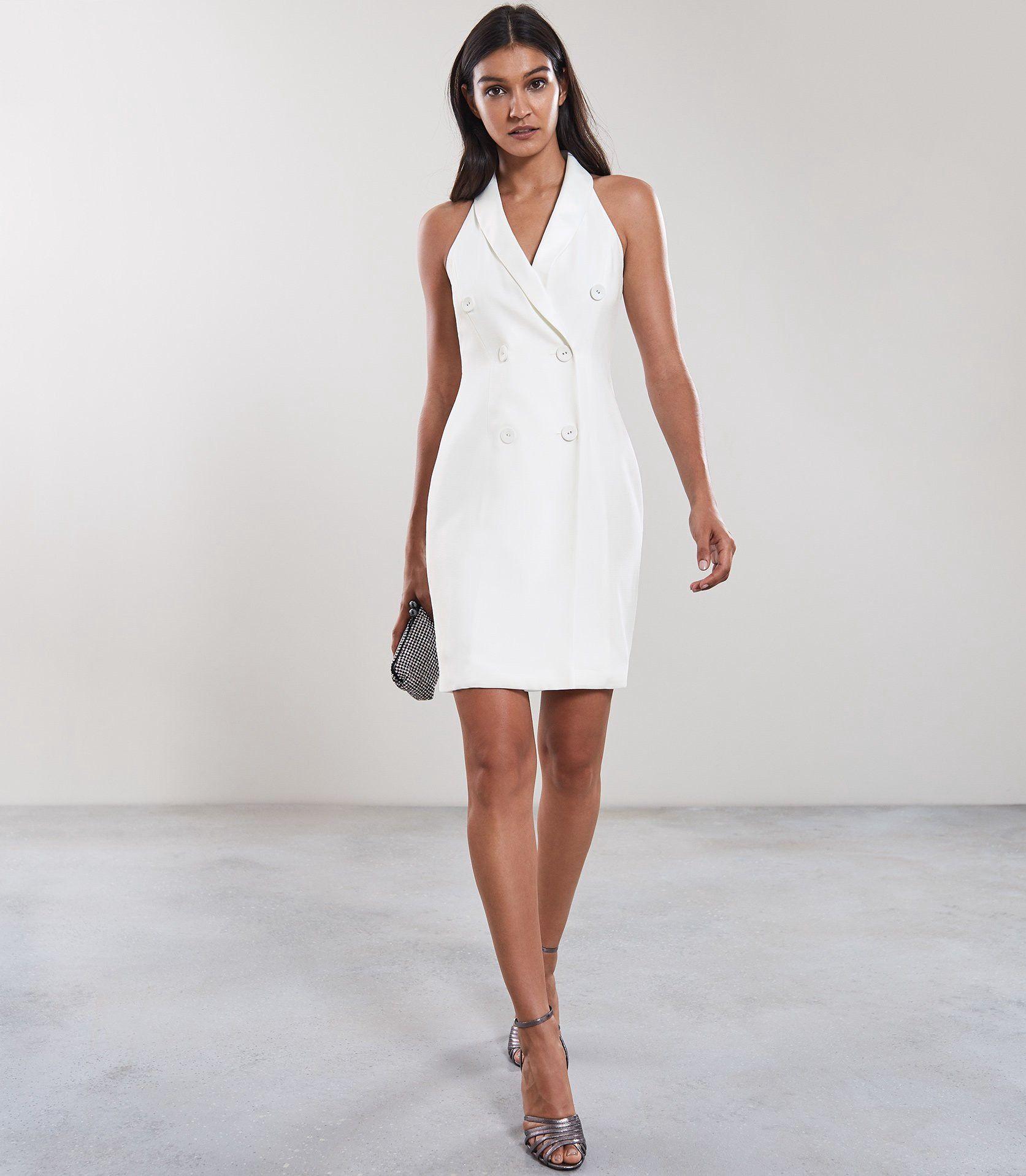 Reiss Sinead Sleeveless Tuxedo Dress Off White 10 Iconic Dresses Blazer Dress Outfits Fashion [ 1918 x 1673 Pixel ]