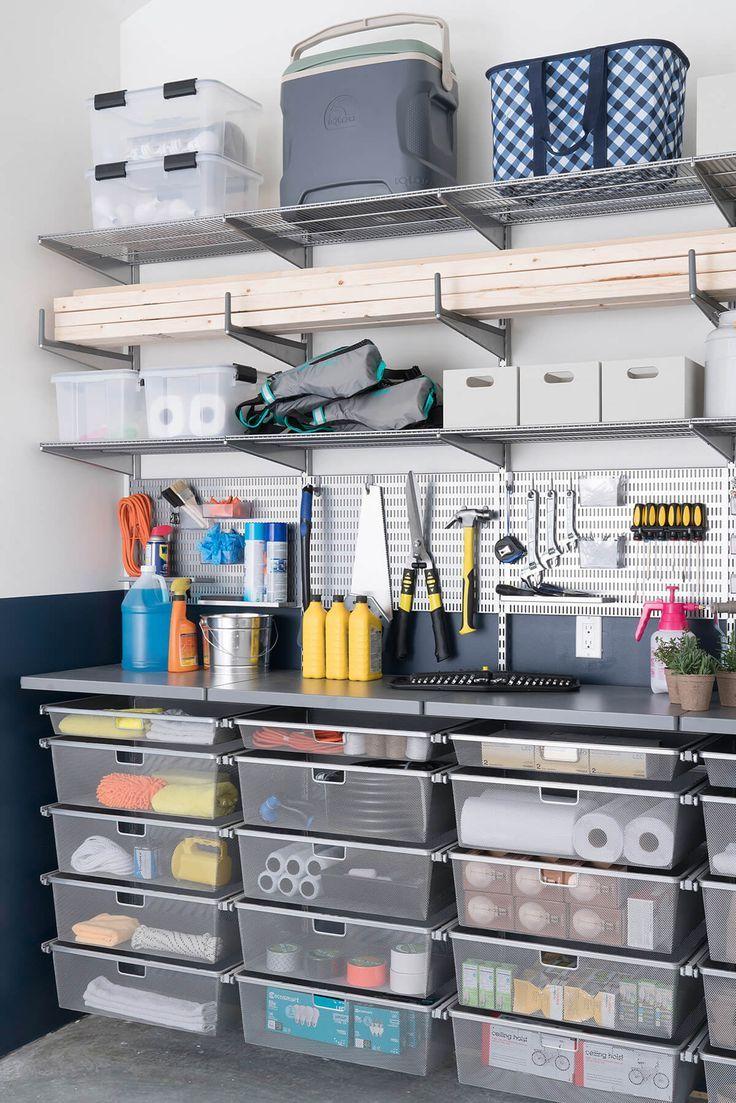 Clear Totes A Workspace And Extra Storage Organisation De Garage Rangement Maison Rangement Garage