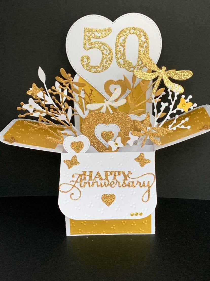 Golden wedding anniversary card, 50th wedding anniversary