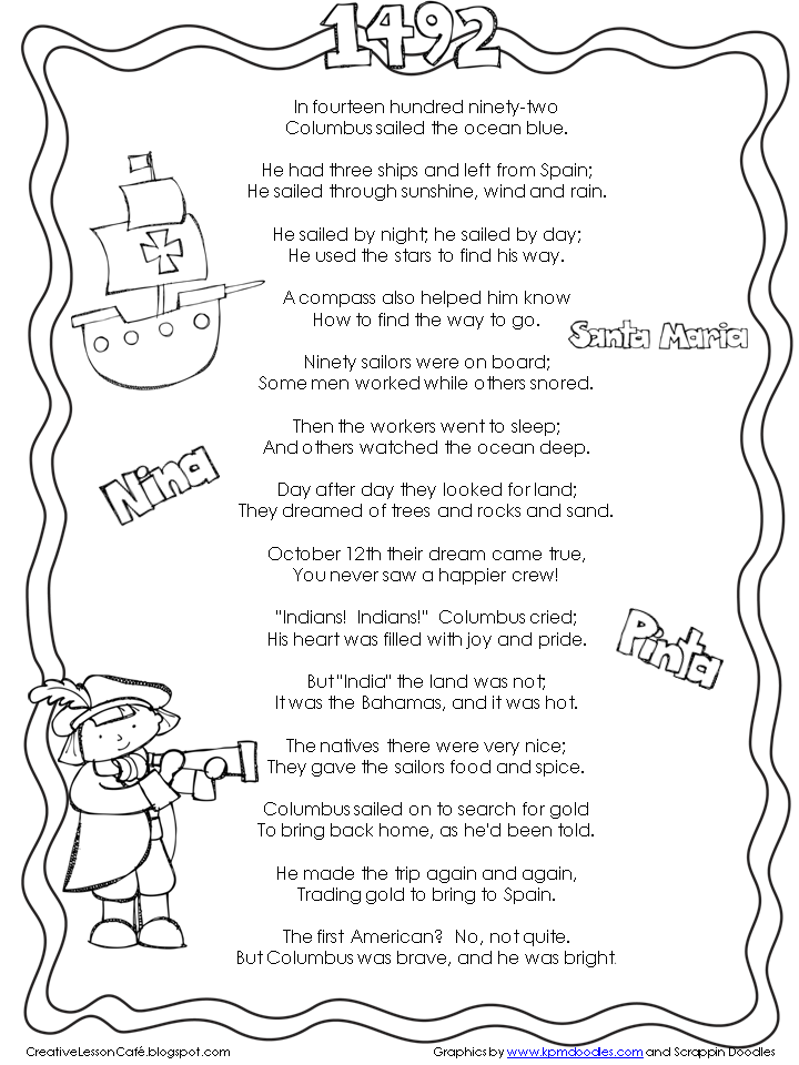 Printable Worksheets free columbus day worksheets : Creative Lesson Cafe: Hurray for Columbus Day and a Winner ...