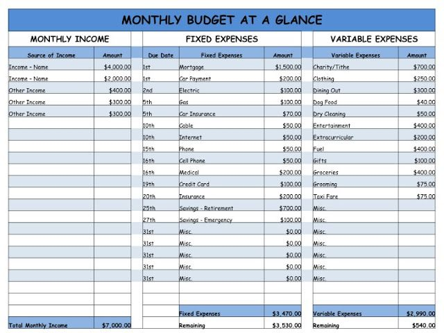 Home is Where my Heart is Monthly Budget - Easy Worksheet House - How To Make A Household Budget Spreadsheet