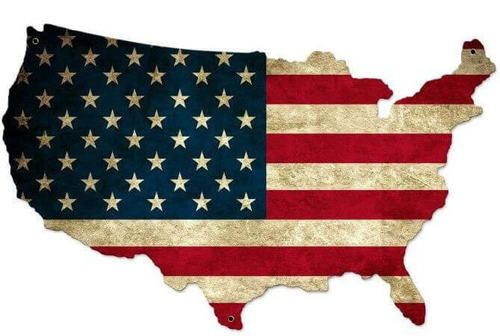 Usa United States Flag Custom Shape Metal Sign 26 X 16