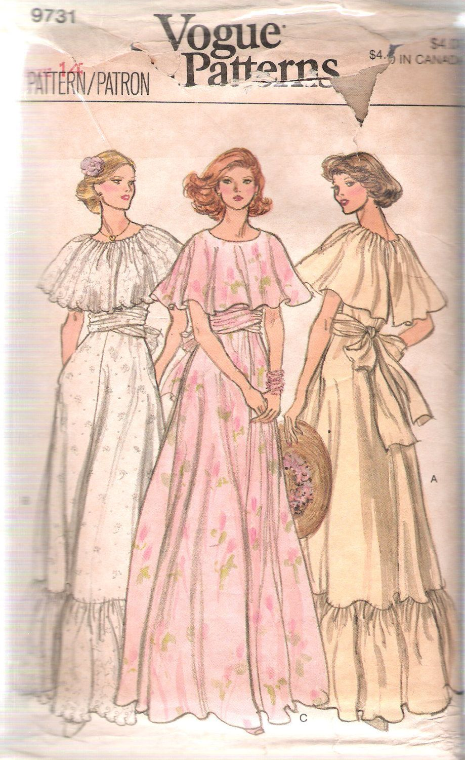"Vintage 1979 Vogue 9731 Misses Long Ruffled Dress Sewing Pattern Size 14 Bust 36"" by Recycledelic1 on Etsy"