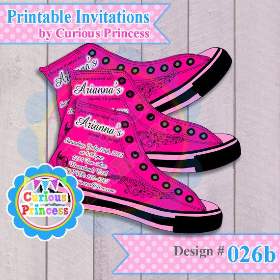 026 converse shoe shaped invitations by CuriousPrincessParty – Shoe Party Invitations