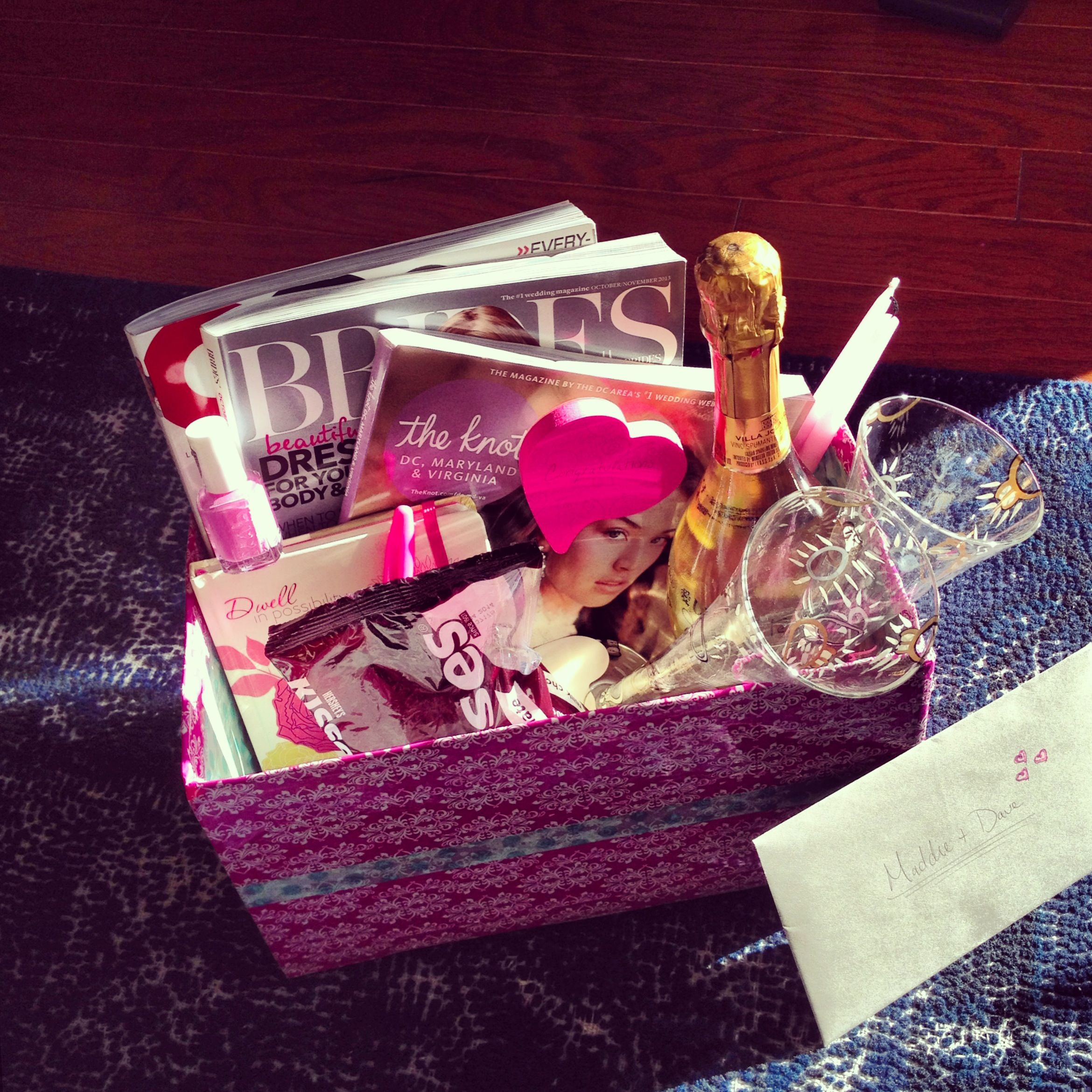 Post Wedding Gifts: Engagement Gift Basket 1. Wedding Magazines 2. GQ For The