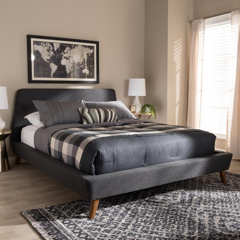 Sienna Dark Grey Queen Platform Bed Upholstered Platform Bed