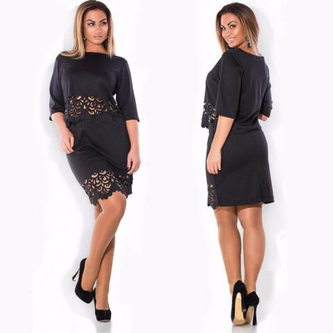 posh mid sleeve lovely design plus size dress   shoesity