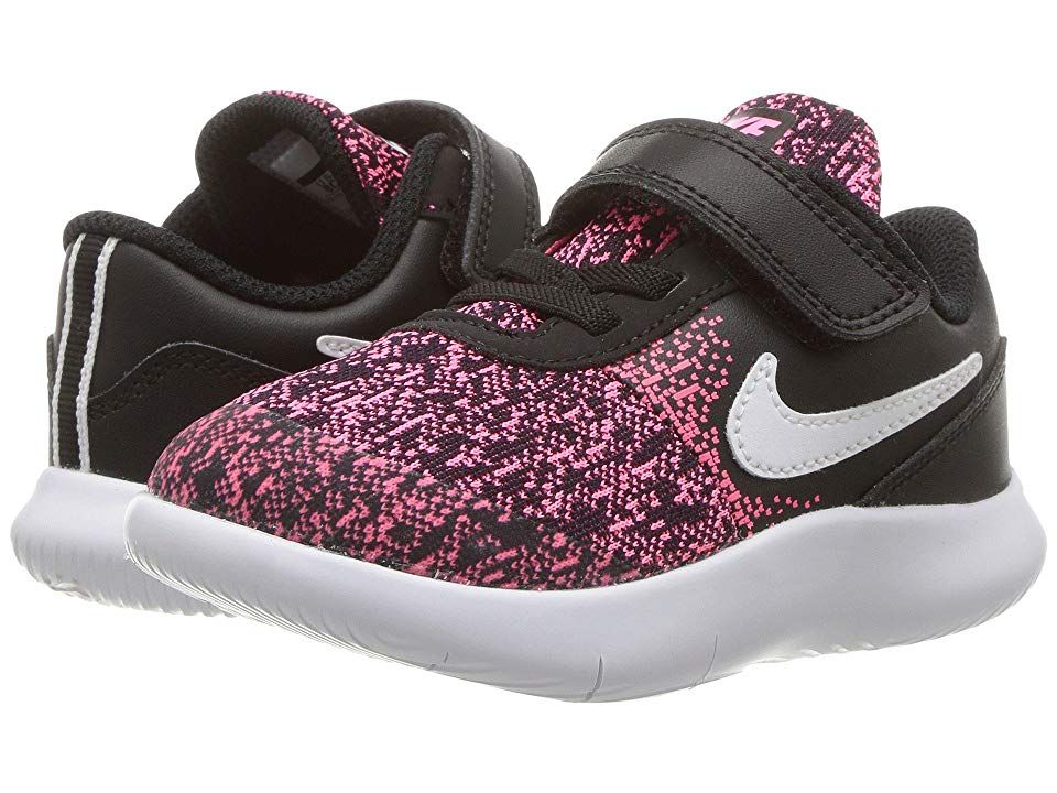 3b11cb9fba21 Nike Kids Flex Contact (Infant Toddler) Girls Shoes Black White Racer Pink