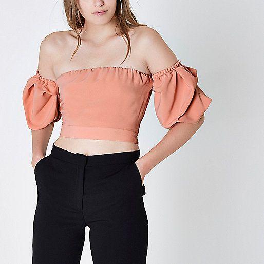 eb96680ae4d Light pink puff sleeve bardot crop top - Crop Tops / Bralets - Tops - women