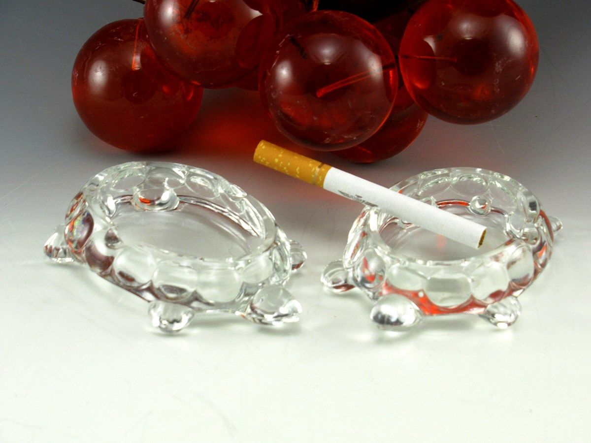 Pair of Vintage Crystal Turtle Ashtrays Personal Size