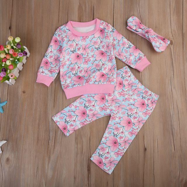 a09ad7b3a 3 Pcs Bebê Recém-nascido Crianças Menina Floral Borla Conjunto Roupa  Infantil Bebês Flor Tops de Manga Longa + Calça + Headband do roupas  Conjunto de Roupas
