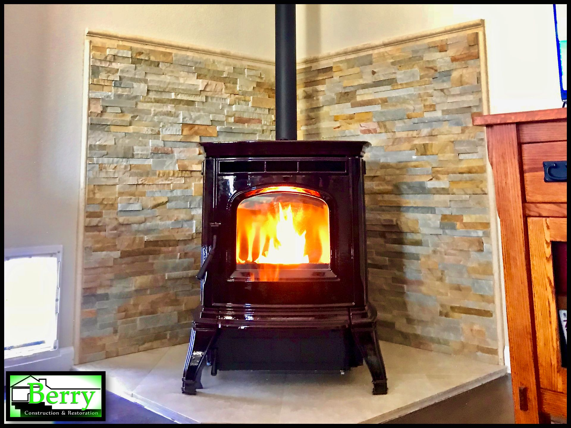 a longtime customer wanted a pellet stove added to their living room