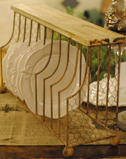 Oversized Plate Rack This cream shabby chic plate rack holds up to 20 Dinner plates. Accented with chicken wire and solid wood top. & Oversized Plate Rack This cream shabby chic plate rack holds up to ...