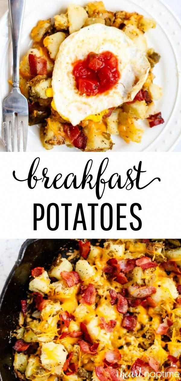 Skillet Breakfast Potatoes - Crispy and flavorful potatoes loaded with cheese, bacon and onions. Easy, delicious and family-friendly.