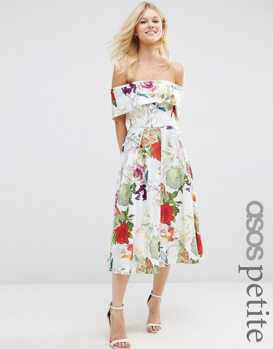 d09e781fec8 Image 1 of ASOS PETITE Bardot Prom Dress in Floral Print