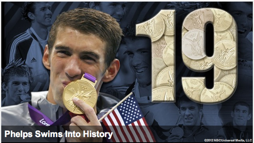 2012-london-olympics:    Michael Phelps becomes the most decorated Olympian with 19 Olympic medals - 15 gold, 2 silver, 2 bronze