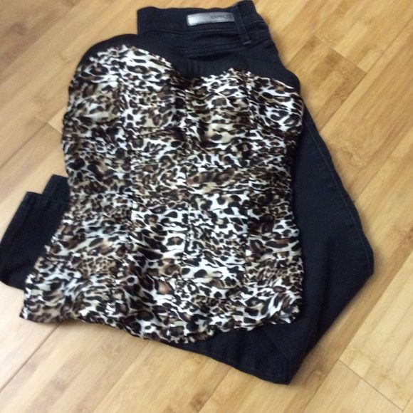 2 Bebe Top Animal print strapless top. Only worn once. bebe Tops