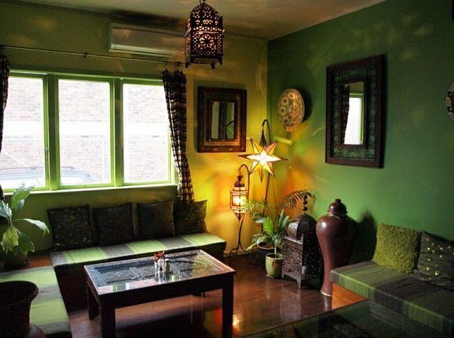 grüne wände marokkanische einrichtung dekoideen | wohnidee, Wohnzimmer