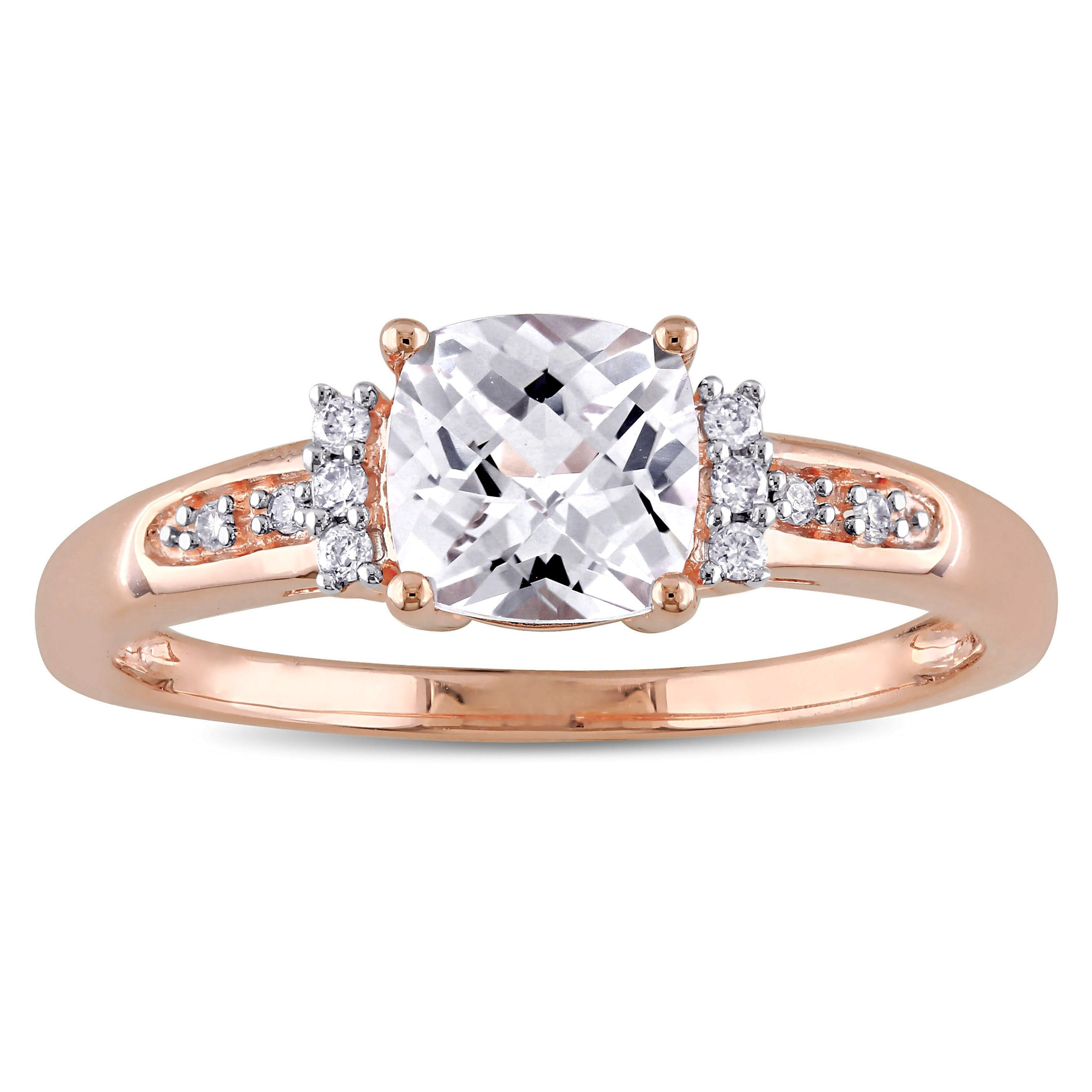 ad162642390ba Miadora 10k Rose Gold Created White Sapphire and Diamond Accent ...
