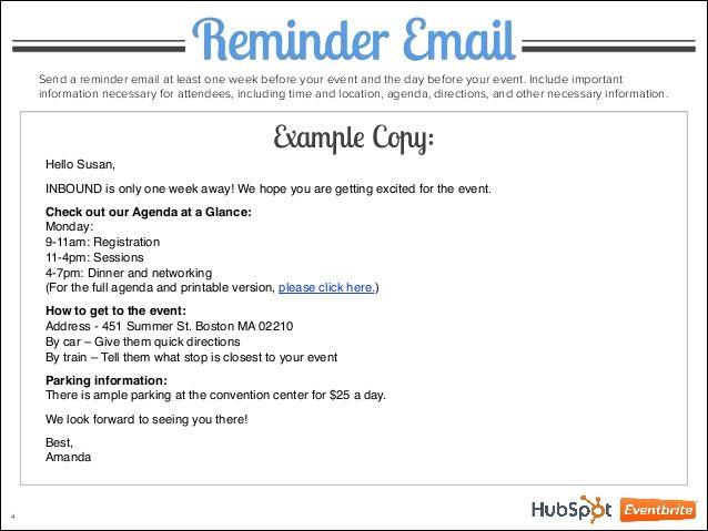 Image Result For Event Reminder Email Wording Event