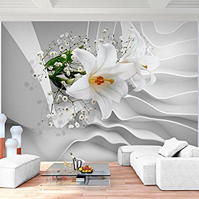 Fototapete Blumen 3D Lilien Weiß Vlies Wand Tapete