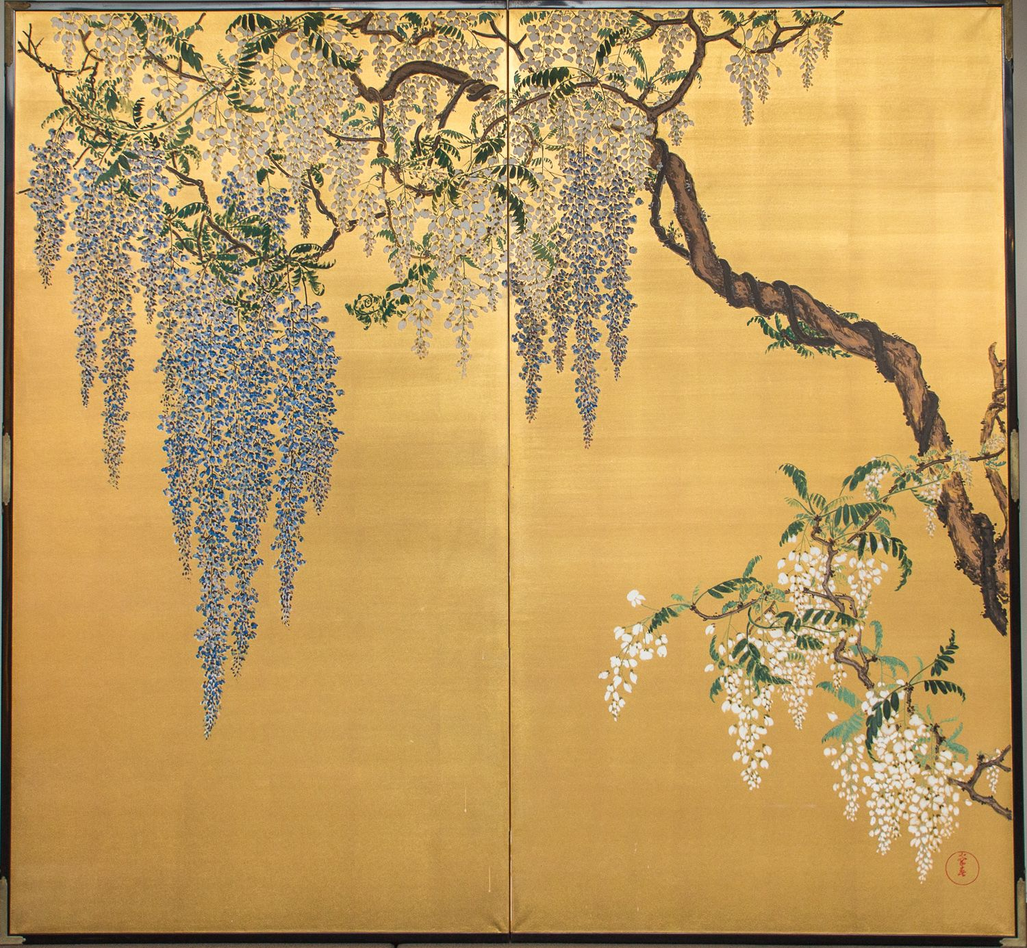 Japanese Two Panel Screen: Wisteria on Gold. Mineral pigments on ...