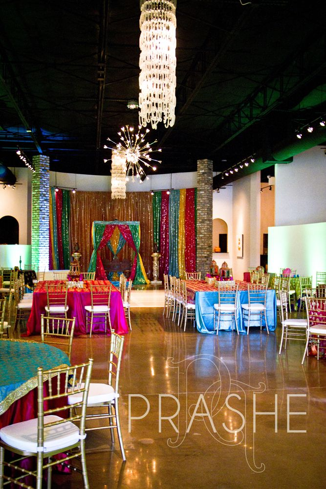 A simple and colourful sangeet party set