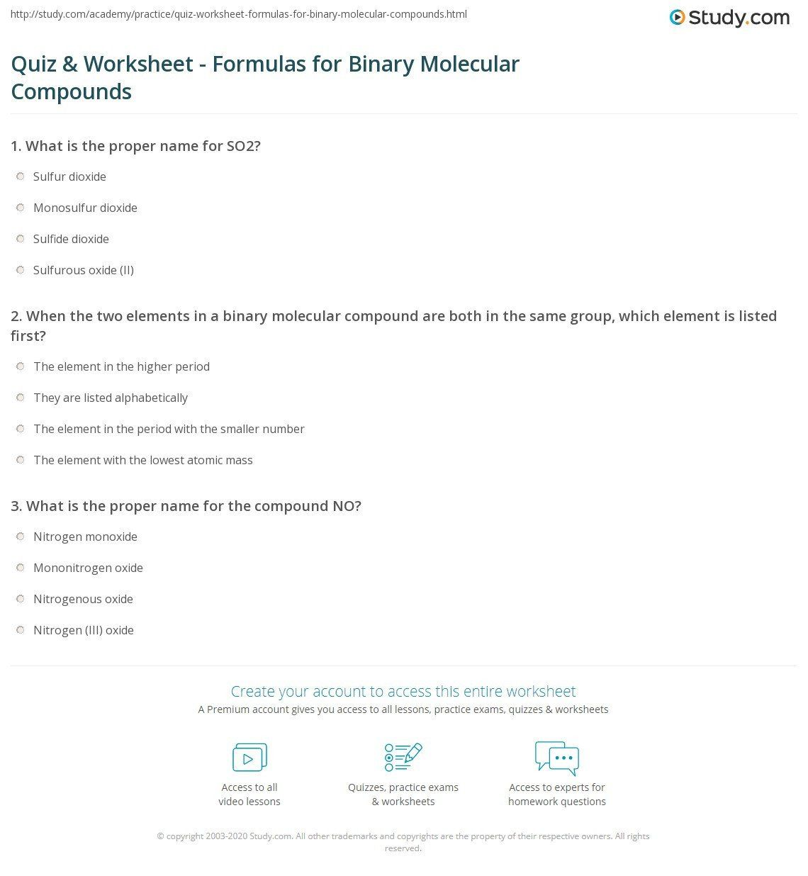 Naming Binary Compounds Worksheet With Answers